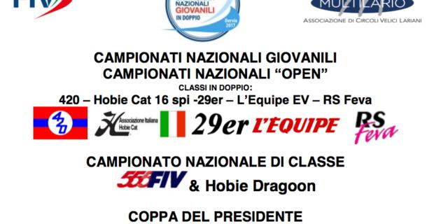 Bando Campionati Giovanili in doppio (420 – Hobie Cat 16 spi -29er – L'Equipe EV – RS Feva) Dervio 2017