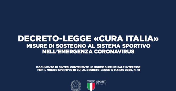 DECRETO-LEGGE «CURA ITALIA» MISURE DI SOSTEGNO AL SISTEMA SPORTIVO NELL'EMERGENZA CORONAVIRUS